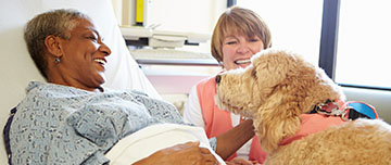 Une patiente avec son animal de compagnie en établissement de soins
