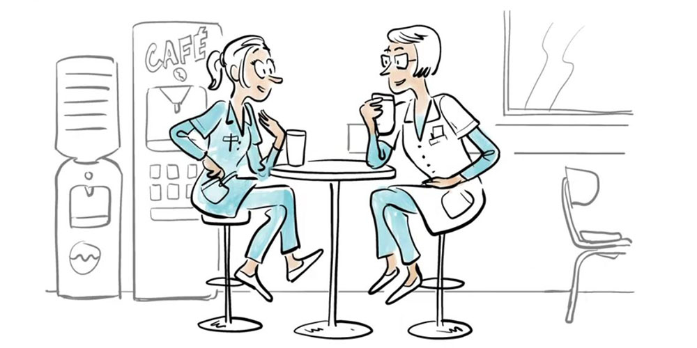 2 infirmières salariées discutent de l'utilité de s'assurer en RCP