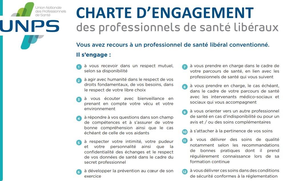 Charte d'engagement des libéraux