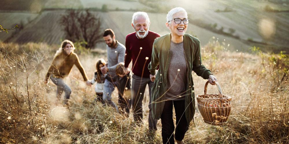 Famille balade retraite